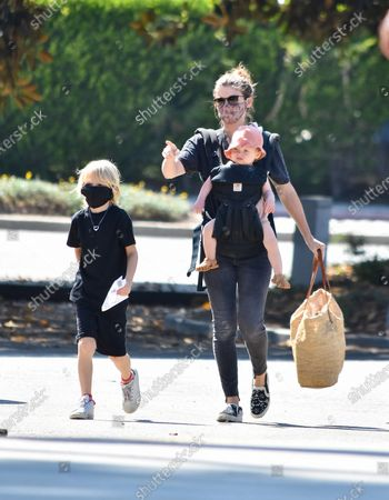 Stock Picture of Kate Mara is seen with her children