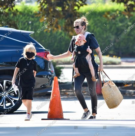 Stock Photo of Kate Mara is seen with her children