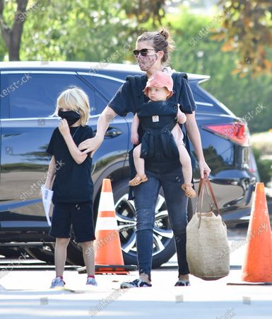 Kate Mara is seen with her children
