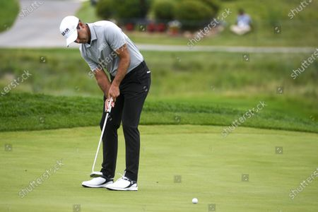 Charl Schwartzel of Johannesburg, South Africa makes a putt on the fourth hole during the third round of the 3M Open golf tournament at the TPC Twin Cities course in Blaine, Minnesota, USA, 25 July 2020.