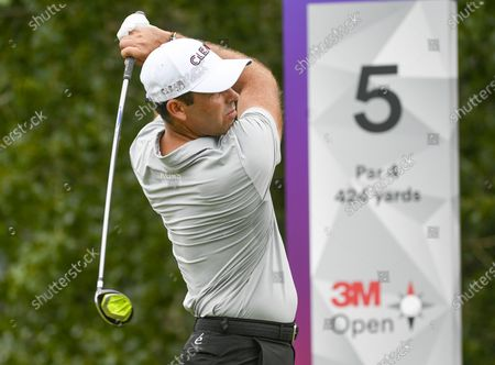 Charl Schwartzel of Johannesburg, South Africa hits his tee shot on the fifth hole during the third round of the 3M Open golf tournament at the TPC Twin Cities course in Blaine, Minnesota, USA, 25 July 2020.