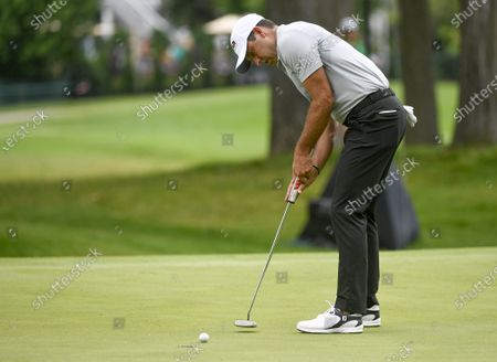 Charl Schwartzel of Johannesburg, South Africa makes a putt on the fifth hole during the third round of the 3M Open golf tournament at the TPC Twin Cities course in Blaine, Minnesota, USA, 25 July 2020.