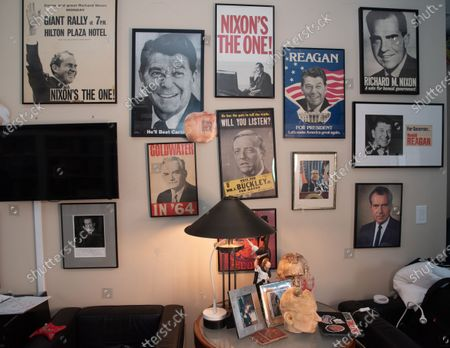 Memorabilia sits on a wall in Roger Stones office. Roger Stone relaxes in his office surrounded by a lot of his memorabilia, that he's collected over the years to include former President Nixon. Roger Stone also has a very large book collection and has read all the books in his library. Residence of Roger Stone