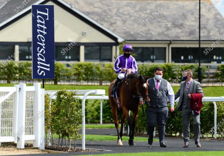 CURRAGH 26-July-2020. Tattersalls Gold Cup (Group 1) MAGICAL and Wayne Lordan being led in by groom Leigh O'Brien and Pat Keating after win for trainer Aidan O'Brien.