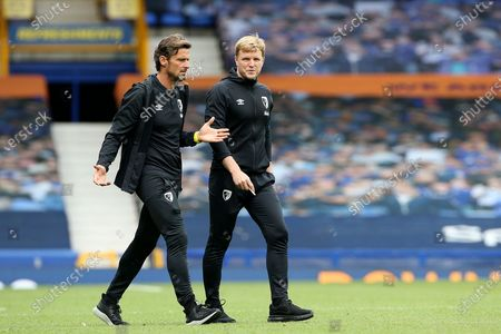 Bournemouth Assistant Manager Jason Tindall and Bournemouth Manager Eddie Howe head for the dressing room at half-time  during the Premier League match between Everton and Bournemouth at Goodison Park, Liverpool