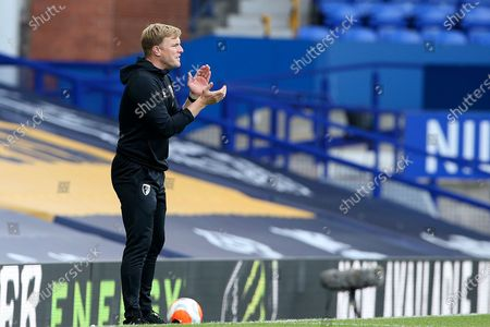 Bournemouth Manager Eddie Howe during the Premier League match between Everton and Bournemouth at Goodison Park, Liverpool
