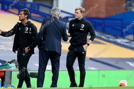 Bournemouth Manager Eddie Howe and Everton Manager Carlo Ancelotti  shake hands at the end of the match the Premier League match between Everton and Bournemouth at Goodison Park, Liverpool