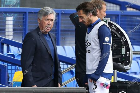 Everton Manager Carlo Ancelotti  talks with Everton defender Leighton Baines (3) during the Premier League match between Everton and Bournemouth at Goodison Park, Liverpool