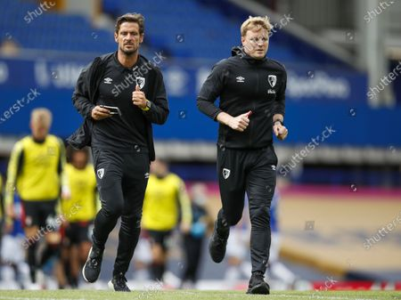 Manager of A.F.C. Bournemouth Eddie Howe (R) runs at the half time during the English Premier League match between Everton and AFC Bournemouth in Liverpool, Britain, 26 July 2020.