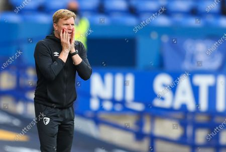 Manager of A.F.C. Bournemouth Eddie Howe reacts during the English Premier League soccer match between Everton and AFC Bournemouth in Liverpool, Britain, 26 July 2020.