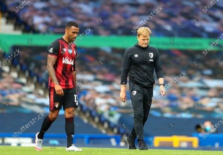 Manager of A.F.C. Bournemouth Eddie Howe (R) and his player Callum Wilson react after the English Premier League soccer match between Everton and AFC Bournemouth in Liverpool, Britain, 26 July 2020.