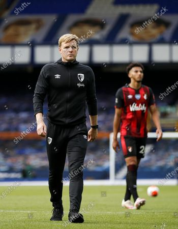 Manager of A.F.C. Bournemouth Eddie Howe reacts dejected after the English Premier League match between Everton and AFC Bournemouth in Liverpool, Britain, 26 July 2020.