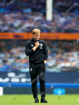 Manager of A.F.C. Bournemouth Eddie Howe reacts dejected after the English Premier League soccer match between Everton and AFC Bournemouth in Liverpool, Britain, 26 July 2020.