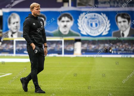 Bournemouth manager Eddie Howe walks the pitch prior to the English Premier League soccer match between Everton and AFC Bournemouth in Liverpool, Britain, 26 July 2020.