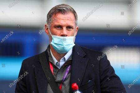 Pundit Jamie Carragher wears protective mask prior to the English Premier League soccer match between Everton and AFC Bournemouth in Liverpool, Britain, 26 July 2020.