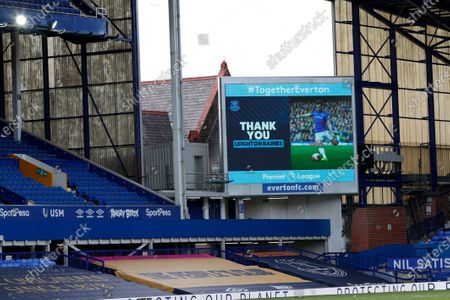 Stock Photo of The big screen shows a thank you message for Everton's Leighton Baines after he announced his retirement after the English Premier League soccer match between Everton and Bournemouth at Goodison Park in Liverpool, England