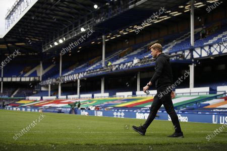 Bournemouth's manager Eddie Howe was onto the pitch before the English Premier League soccer match between Everton and Bournemouth at Goodison Park in Liverpool, England