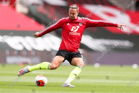 Sheffield United's Phil Jagielka warming up before the English Premier League soccer match between Southampton and Sheffield United at St. Mary's Stadium in Southampton, England