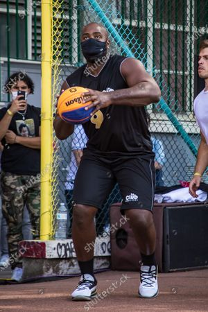 French judo champion Teddy Riner takes part in a 'four years to go' Basketball exhibition tournament  in Paris, France, 26 July 2020.