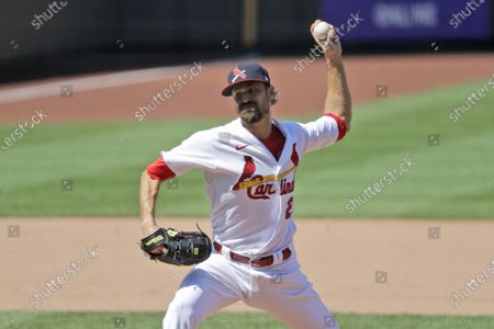 St. Louis Cardinals relief pitcher Andrew Miller throws during the eighth inning of a baseball game against the Pittsburgh Pirates, in St. Louis