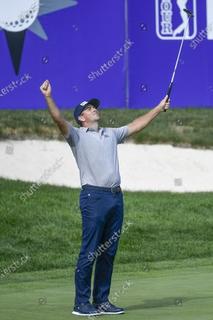 Michael Thompson of Sea Island, Georgia  celebrates after finishing 19-under par and winning the 3M Open golf tournament at the TPC Twin Cities course in Blaine, Minnesota, USA, 26 July 2020.