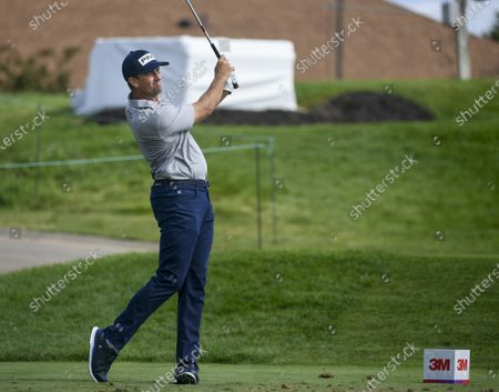 Michael Thompson of Sea Island, Georgia hits his tee shot on the seventeenth hole during the 3M Open golf tournament at the TPC Twin Cities course in Blaine, Minnesota, USA, 26 July 2020. Thompson won with a 19-under par.