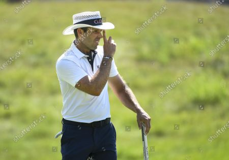 Charl Schwartzel of Johannesburg, South Africa, watches  his tee shot on the sixteenth hole during the 3M Open golf tournament at the TPC Twin Cities course in Blaine, Minnesota, USA, 26 July 2020. Thompson won with a 19-under par.