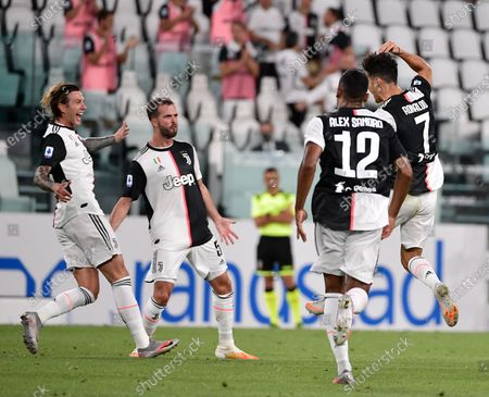 Stock Image of Cristiano Ronaldo of Juventus FC celebrates after scoring the goal, Alex Sandro of Juventus FC, Federico Bernardeschi of Juventus FC