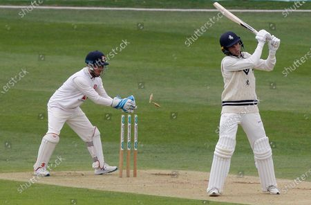 Stock Picture of Adam Wheater of Essex stumps Matt Milnes during Kent CCC vs Essex CCC, Friendly Match Cricket at The Spitfire Ground on 27th July 2020