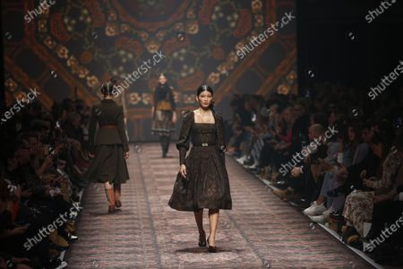 Stock Picture of Models on the catwalk at the MBFW in the Kraftwerk Berlin present the autumn/winter 2020/21 collection by the designer Lena Hoschek.
