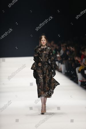 Models on the catwalk at the MBFW in the Kraftwerk Berlin present the autumn / winter 2020/21 collection by the designer Irene Luft.
