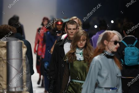Stock Photo of Models on the catwalk at the MBFW in the Kraftwerk Berlin present the autumn / winter 2020/21 collection by the designer Irene Luft.