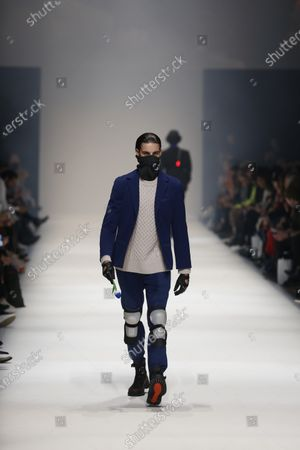 Stock Picture of Models on the catwalk at the MBFW in the Kraftwerk Berlin present the autumn / winter 2020/21 collection by the designer Irene Luft.