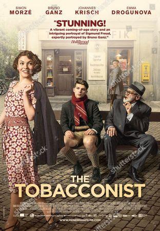 Stock Photo of The Tobacconist Poster Art. Emma Drogunova as Anezka, Simon Morze as Franz Huchel, Johannes Krisch as Otto Trsnjek and Bruno Ganz as Prof. Sigmund Freud