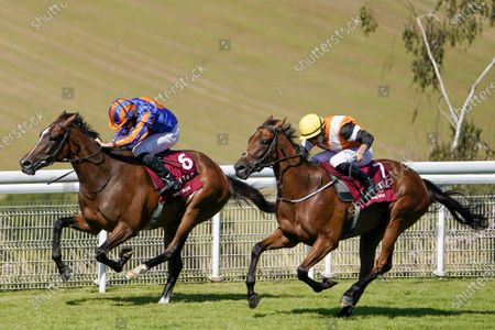 CHICHESTER, ENGLAND - JULY 30: Ryan Moore riding Fancy Blue (L) wins The Qatar Nassau Stakes from Tom Marquand and One Voice (R) at Goodwood Racecourse on July 30, 2020 in Chichester, England. (Photo by Alan Crowhurst/Getty Images), supplied by Hugh Routledge.