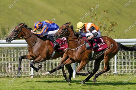 Stock Image of CHICHESTER, ENGLAND - JULY 30: Ryan Moore riding Fancy Blue (L) win The Qatar Nassau Stakes from Tom Marquand and One Voice (R) at Goodwood Racecourse on July 30, 2020 in Chichester, England.(Photo by Alan Crowhurst/Getty Images), supplied by Hugh Routledge.