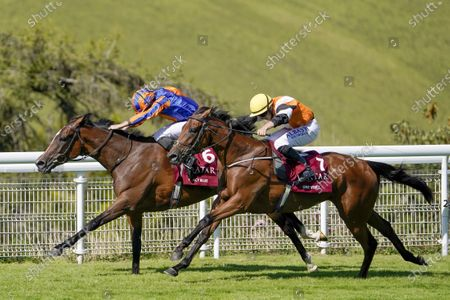 CHICHESTER, ENGLAND - JULY 30: Ryan Moore riding Fancy Blue (L) win The Qatar Nassau Stakes from Tom Marquand and One Voice (R) at Goodwood Racecourse on July 30, 2020 in Chichester, England. (Photo by Alan Crowhurst/Getty Images), supplied by Hugh Routledge.