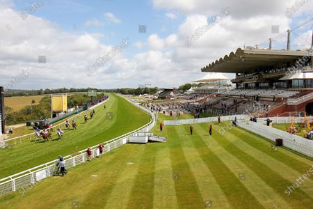 Ebraz and Maxime Guyon win the Qatar International Stakes at Goodwood against empty stands. 1/8/2020 Pic Steve Davies, supplied by Hugh Routledge.