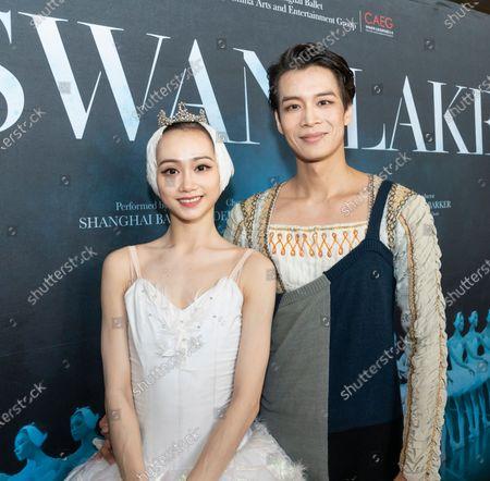 Dancers Qi Bingxue, Wu Husheng meet media at press preview of Grand Swan Lake by Shanghai Ballet at Lincoln Center David Koch Theater