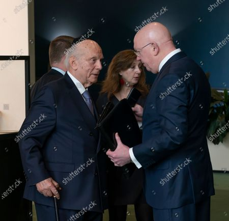 Stock Picture of Rabbi Arthur Schneier & Russia Ambassador Vassily Nebenzia attend Holocaust Memorial at UN General Assembly at United Nations Headquarters