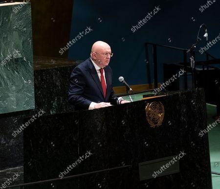 Russia Ambassador Permanent Representative Vassily Nebenzia speaks during Holocaust Memorial at UN General Assembly at United Nations Headquarters