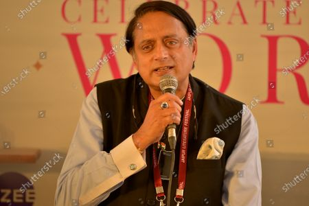 Senior Congress leader Shashi Tharoor in Jaipur Literature Festival.  Zee Jaipur Literature Festival described as the 'greatest literary show on Earth' and the 'Kumbh of literature', the ZEE Jaipur Literature Festival is a sumptuous feast of ideas