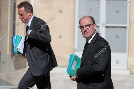 French Prime Minister Jean Castex (R) and French Minister for the Ecological and Inclusive Transition Francois de Rugy (L) attend the first Council for environmental protection (Conseil de Defense Ecologique) at the Elysee Palace in Paris, France, 27 July 2020.