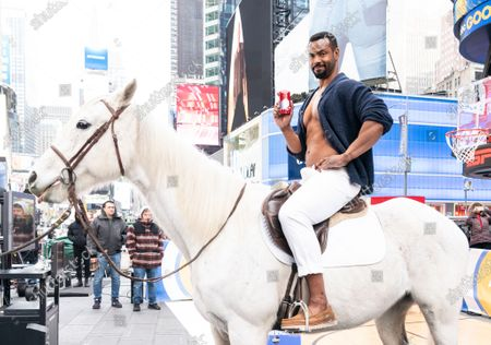 New York, NY - January 23, 2020: Actor Isaiah Mustafa poses during Old Spice products promotion on Times Square