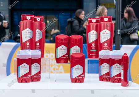 Old Spice Ultra Smooth lineup products on display during Isaiah Mustafa and Keith Powers promotion on Times Square
