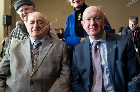 Auschwitz survivor Zoltan Matyash & Russia Ambassador Vassily Nebenzia attend Opening of exhibition commemorating 75th anniversary of liberation of Auschwitz-Birkenau concentration camp at UN Headquarters