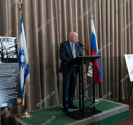 Russia Ambassador Vassily Nebenzia speaks at Opening of exhibition commemorating 75th anniversary of liberation of Auschwitz-Birkenau concentration camp at UN Headquarters