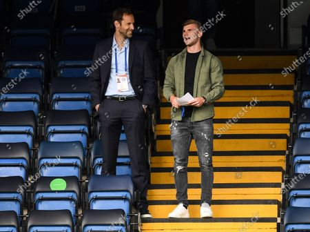 Timo Werner of Chelsea with Petr Cech