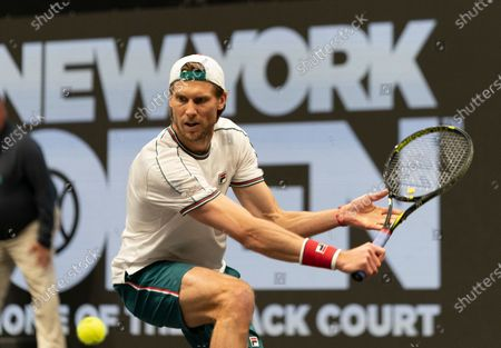 Andreas Seppi of Italy returns ball during semifinal match against Jason Jung of Taipei at ATP 250 New York Open 2020 tennis tournament at Nassau Coliseum, Seppi won match