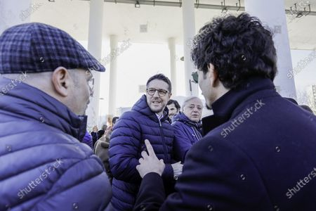 Stock Picture of The Northern League met this morning in the northern area of Naples in Scampia in the central square. The regional secretary Nicola on. Molteni, on Gianluca Cantalamessa, and Pina Castiello.